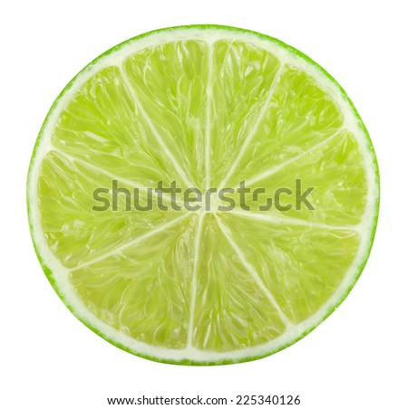 Slice of lime citrus fruit isolated on white with clipping path  - stock photo