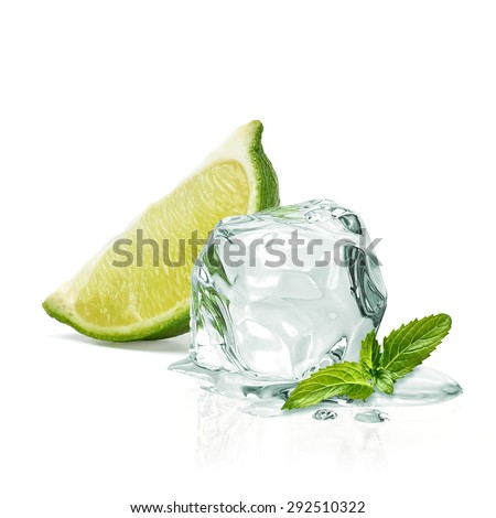 Slice of lime wedge, ice and mint isolated on white background - stock photo