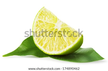 Slice of lime with leaves isolated on white background