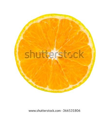 slice of orange fruit isolated on white background - stock photo