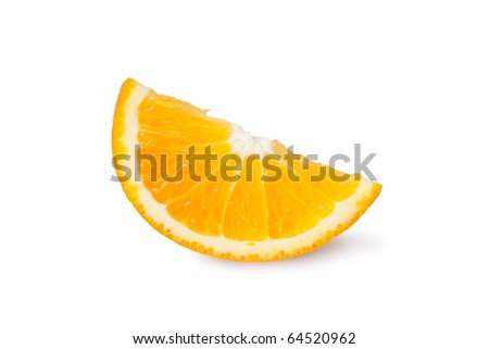 Slice of orange isolated on white. - stock photo