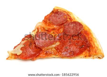 Slice of pepperoni pizza on white background. - stock photo