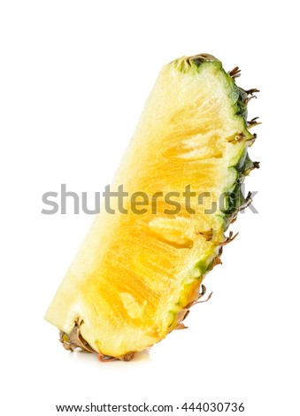Slice of pineapple isolated on the white background.