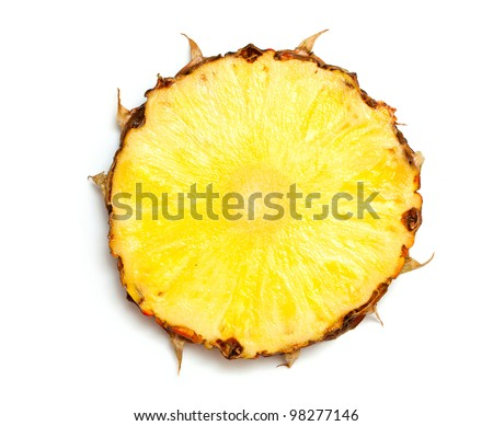 slice of pineapple isolated on white background - stock photo