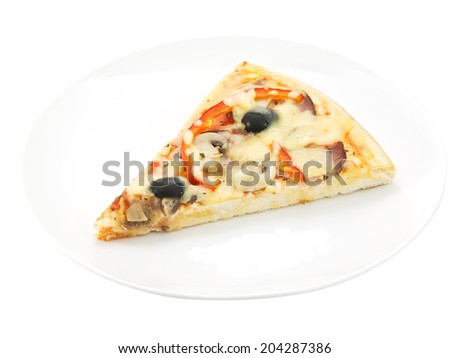 slice of pizza close-up isolated on white background - stock photo