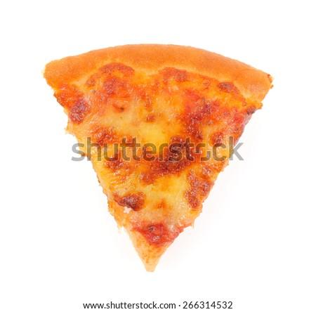 Slice of pizza isolated on white background - stock photo