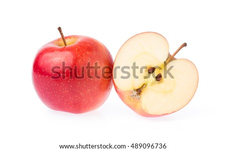 slice of red apple isolated on white background