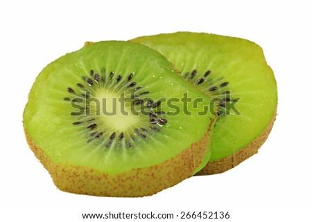 Slice of Ripe kiwi fruit isolated on white background - stock photo