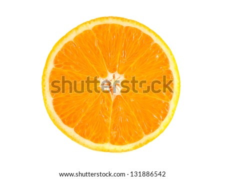Slice of ripe orange isolated on white background. Fresh diet citrus fruit (health). Healthy fruit with vitamins. - stock photo