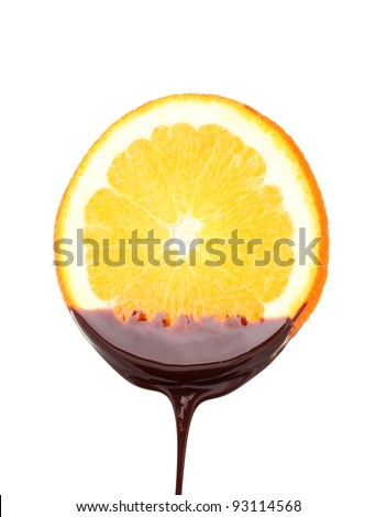 slice of ??ripe orange with chocolate isolated on white