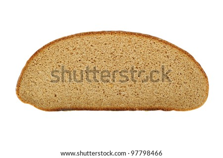 Slice of round bread isolated on white