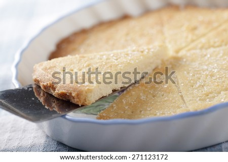 Slice of shortbread on a cake server. Selective focus  - stock photo