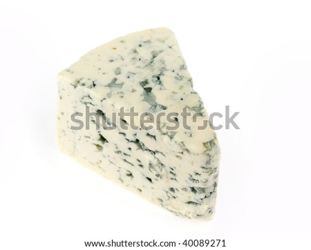 slice of stilton cheese isolated on white
