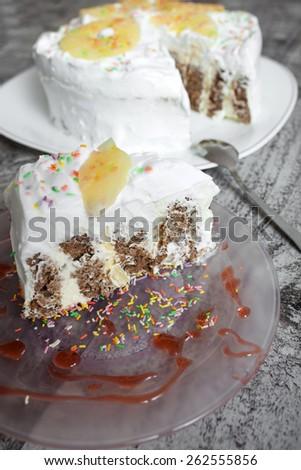 Slice of sweet pineapple pie - stock photo