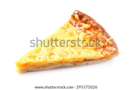Slice of tasty cheese pizza isolated on white