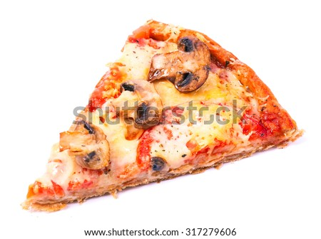 Slice of tasty pizza with vegetables isolated on white - stock photo