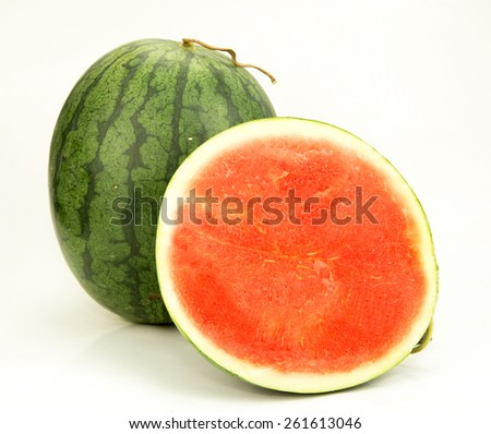 Slice of watermelon on white background - stock photo