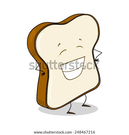 Slice Of White Bread; Bread slice cartoon - stock photo