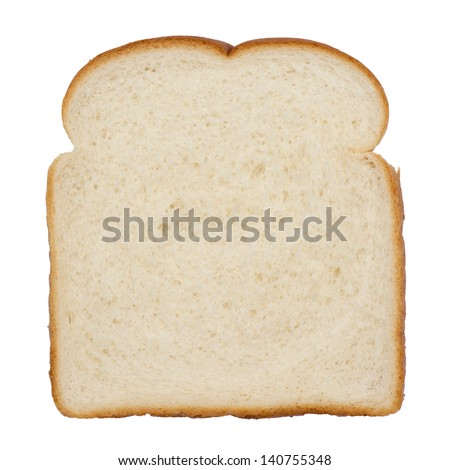 Slice of white bread isolated on white
