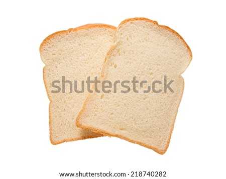 Slice of white breads isolated on white