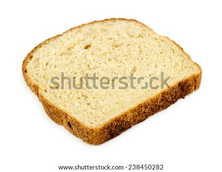 Slice of whole wheat bread isolated on white - stock photo
