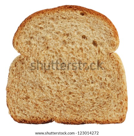 Slice of wholewheat bread isolated on white background - stock photo