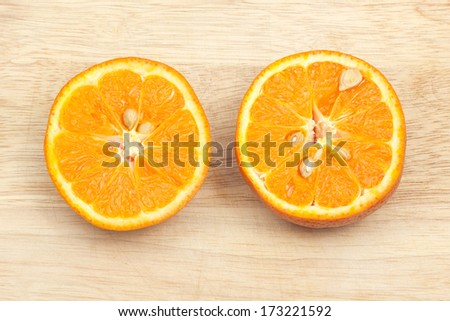 slice orange  on the block