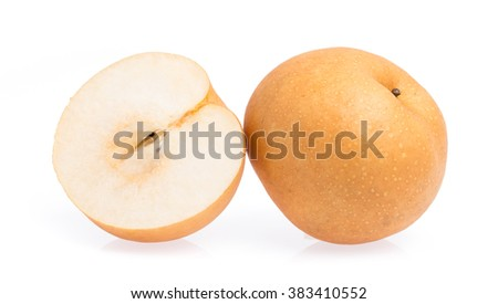 slice pear isolated on white background - stock photo