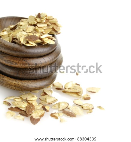 Sliced Almonds In Wooden Bowls, Close Up