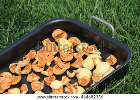 Sliced apples drying on a baking tray on the lawn in the summer garden