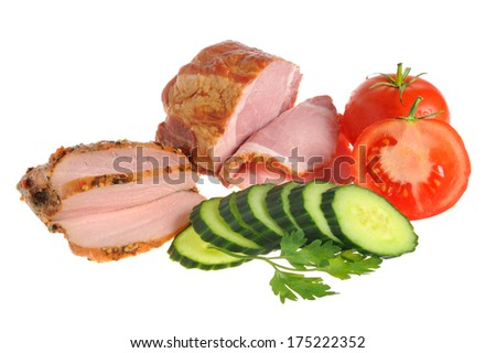 Sliced bacon, turkey and vegetables with green leaves of parsley isolated on white background - stock photo