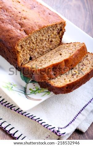 Sliced banana bread, selective focus - stock photo