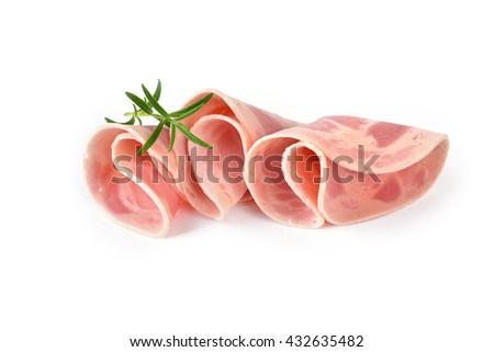 Sliced Bavarian ham sausage garnished with rosemary on white background - stock photo