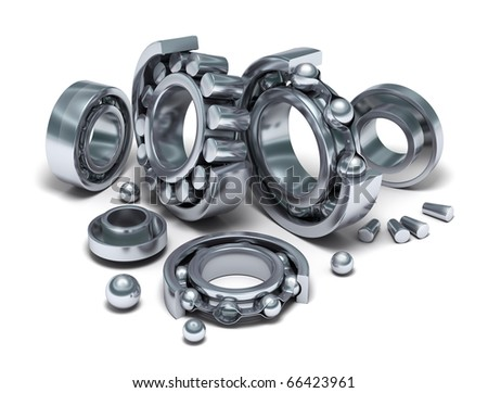 Sliced Bearings set and details. 3D image. - stock photo