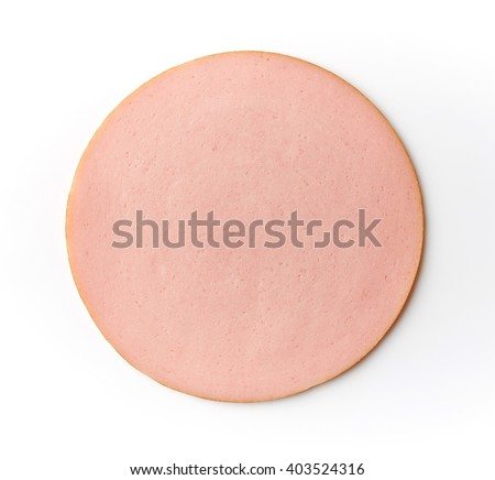 Sliced boiled ham sausage isolated on white background, top view - stock photo