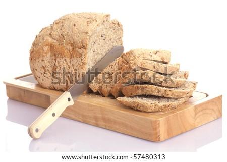 sliced bread isolated - stock photo