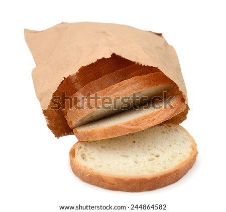 sliced bread isolated in brown paper on white  - stock photo