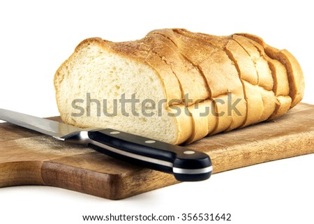 Sliced bread isolated on a white background - stock photo