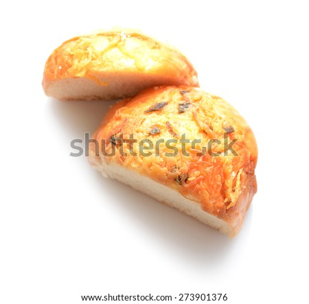 sliced bread isolated on white - stock photo