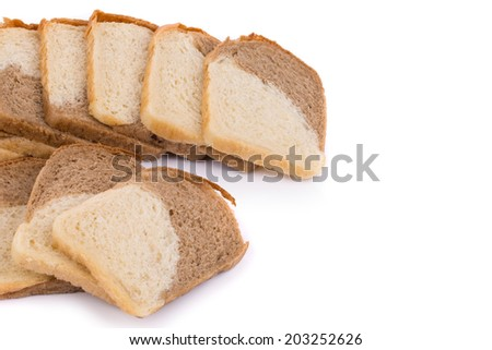 sliced bread isolated on white background in closeup