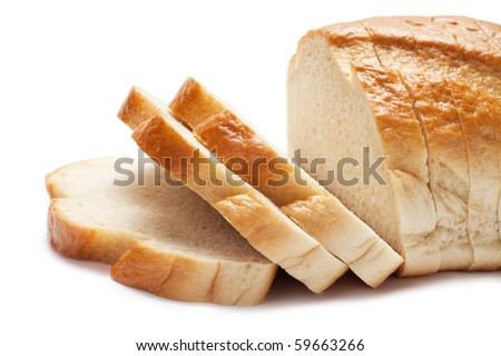 sliced bread isolated over white background - stock photo