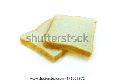 sliced bread on white background - stock photo