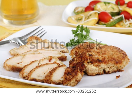 Sliced breaded chicken breast on a plate