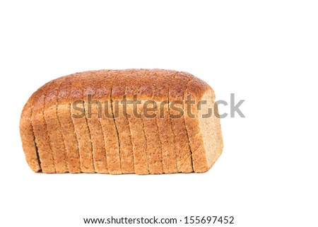 Sliced brown bread. Isolated on white background. Place for text. - stock photo