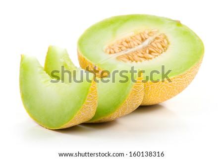 Sliced Cantaloupe Isolated on White Background - stock photo