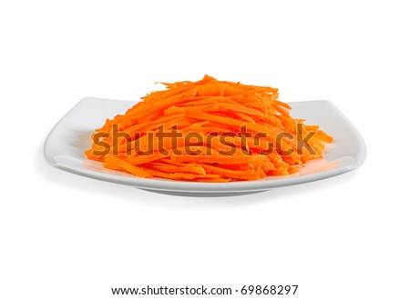 sliced carrot putting on the dish and ready to cooking an image isolated on white - stock photo