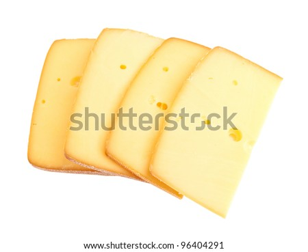 sliced cheese isolated on a white background + clipping path