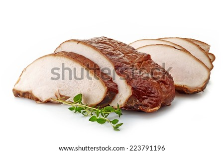 Sliced chicken meat isolated on a white background - stock photo