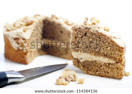 Sliced coffee cake ready for serving