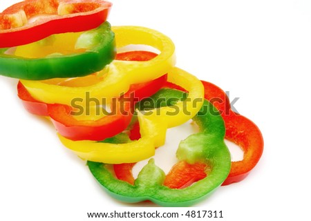 Sliced colorful paprika